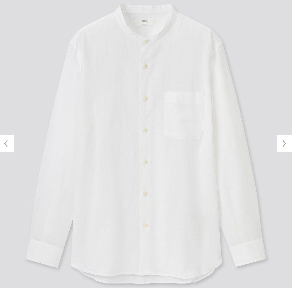 2021ssリネンコットンスタンドカラーシャツのスタイル4