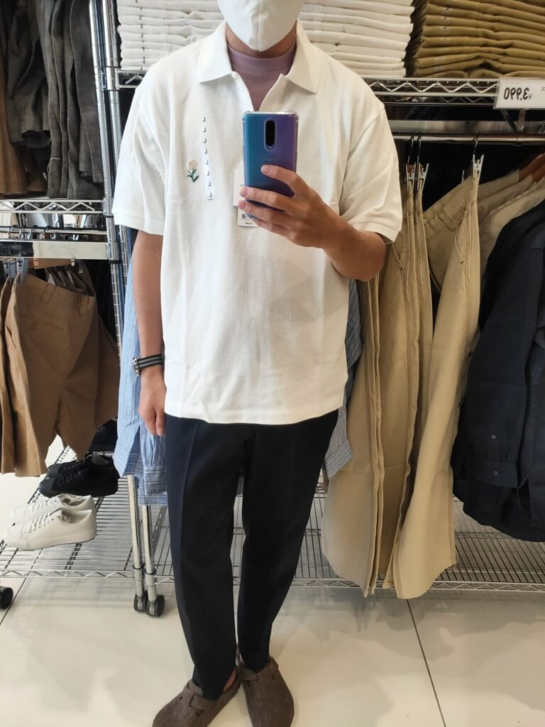 2021SSJWアンダーソンポロシャツのホワイトL前