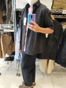 2021SSJWアンダーソンオーバーサイズチェックワークシャツのダークグレーM横
