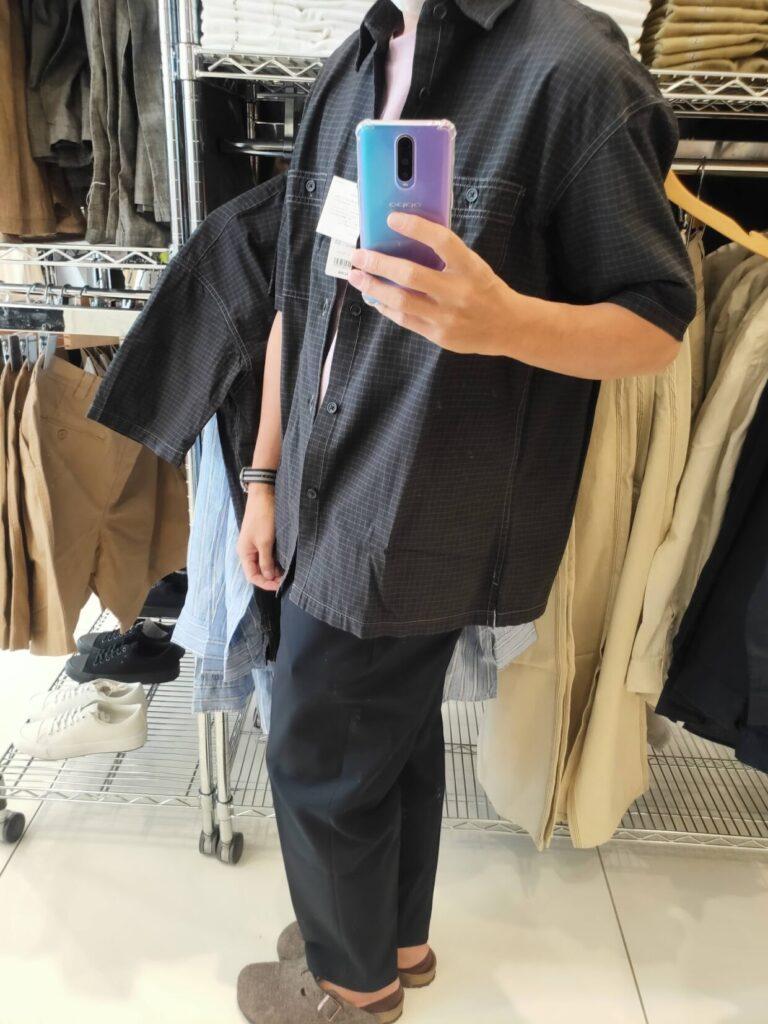 2021SSJWアンダーソンオーバーサイズチェックワークシャツのダークグレーL横