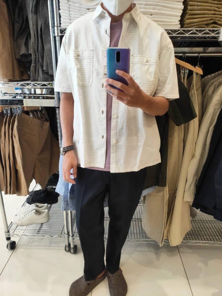 2021SSJWアンダーソンオーバーサイズチェックワークシャツのオフホワイトM前