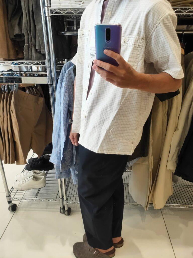2021SSJWアンダーソンオーバーサイズチェックワークシャツのオフホワイトM横