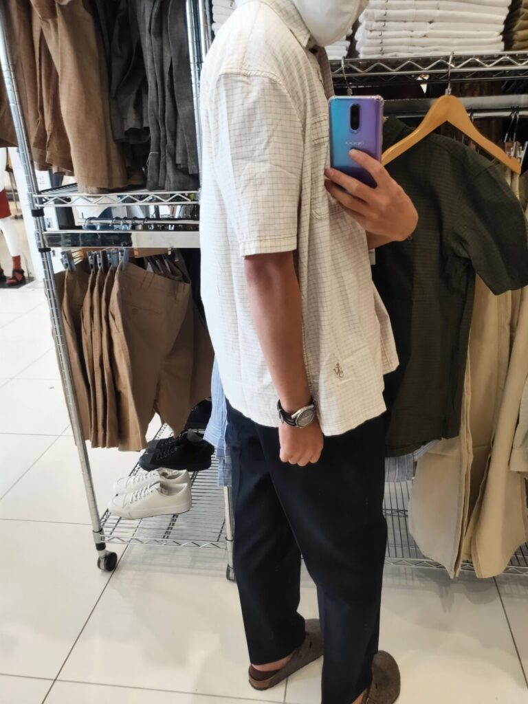 2021SSJWアンダーソンオーバーサイズチェックワークシャツのオフホワイトM後ろ