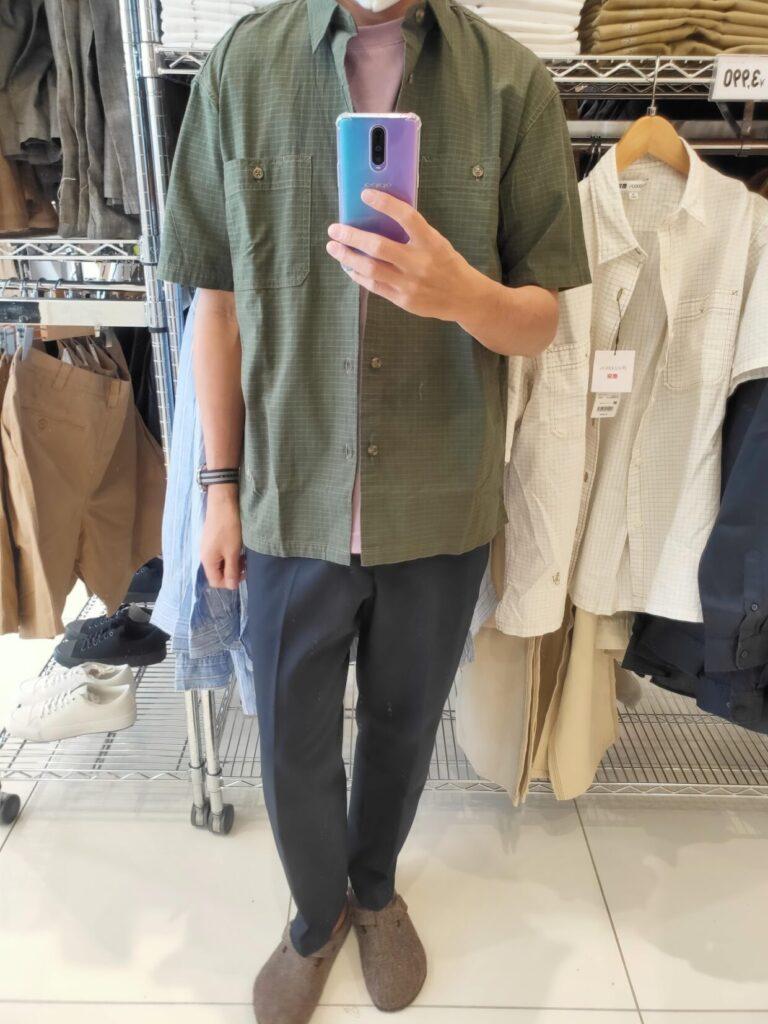 2021SSJWアンダーソンオーバーサイズチェックワークシャツのオリーブM前