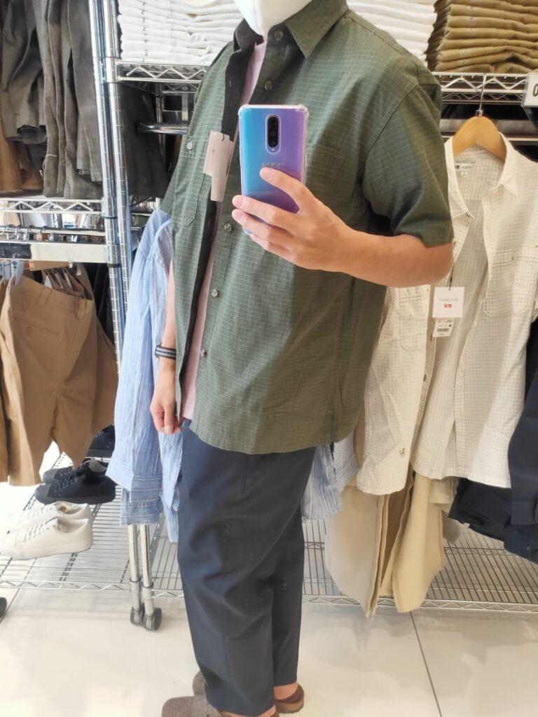 2021SSJWアンダーソンオーバーサイズチェックワークシャツのオリーブM横