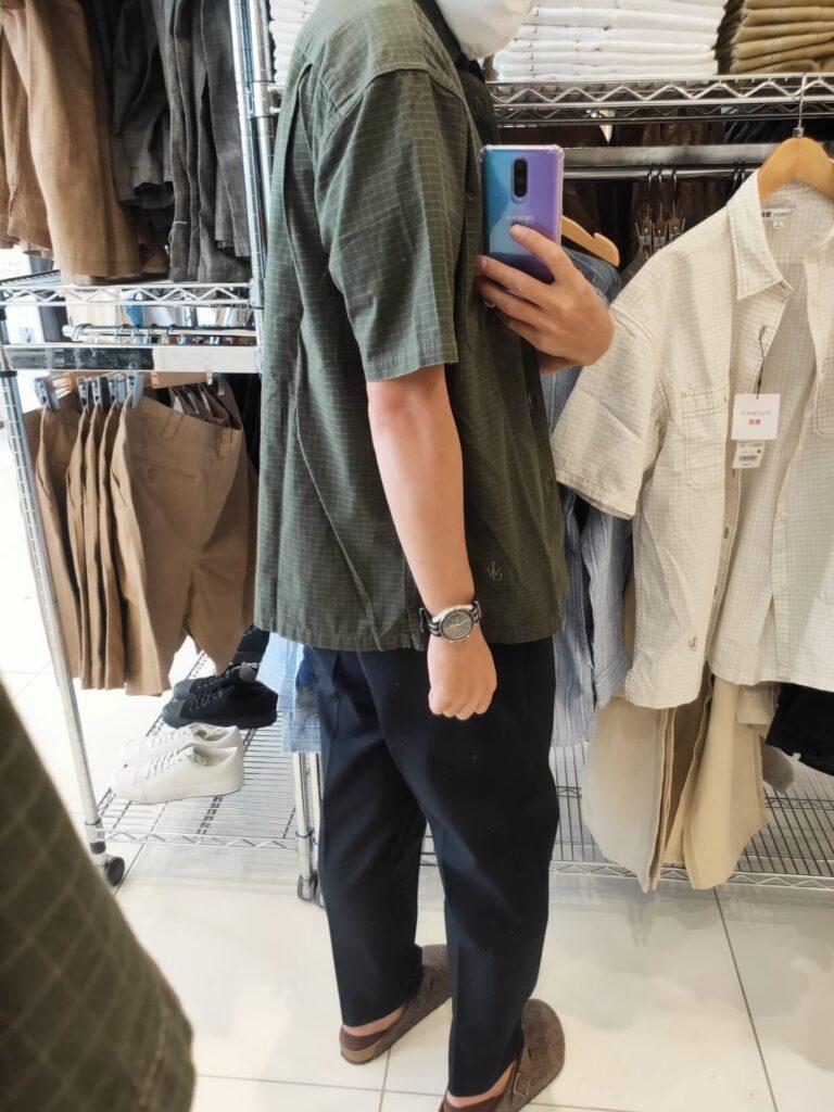 2021SSJWアンダーソンオーバーサイズチェックワークシャツのオリーブM後ろ