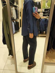 2021+JスーピマコットンオーバーサイズスタンドカラーシャツのブルーM後ろ