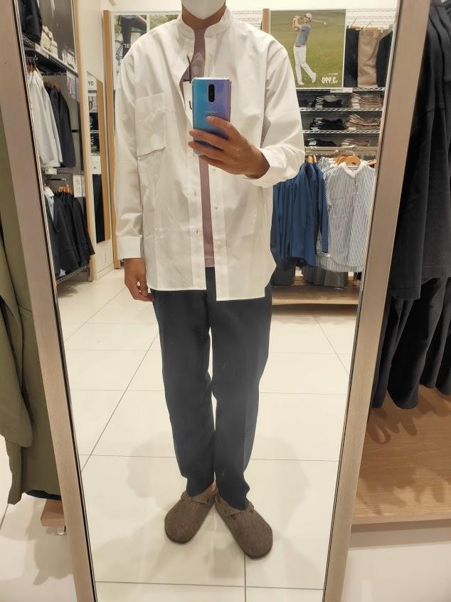2021+JスーピマコットンオーバーサイズスタンドカラーシャツのホワイトM前