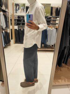 2021+JスーピマコットンオーバーサイズスタンドカラーシャツのホワイトM横