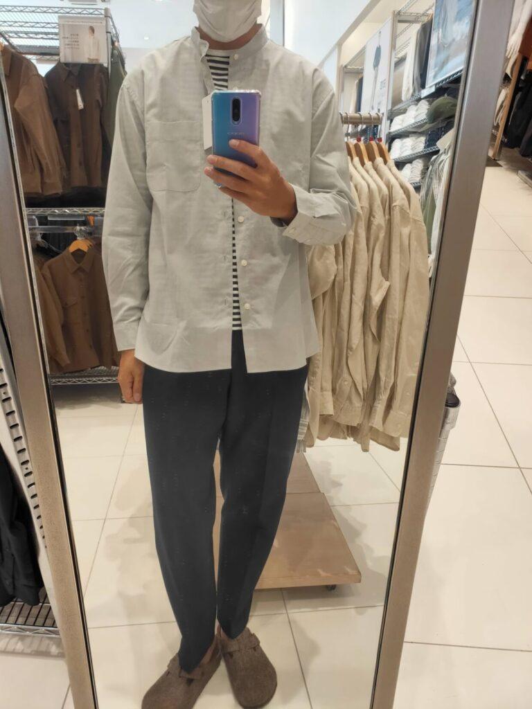 2021ssエクストラファインコットンブロード スタンドカラーシャツのグレーM前