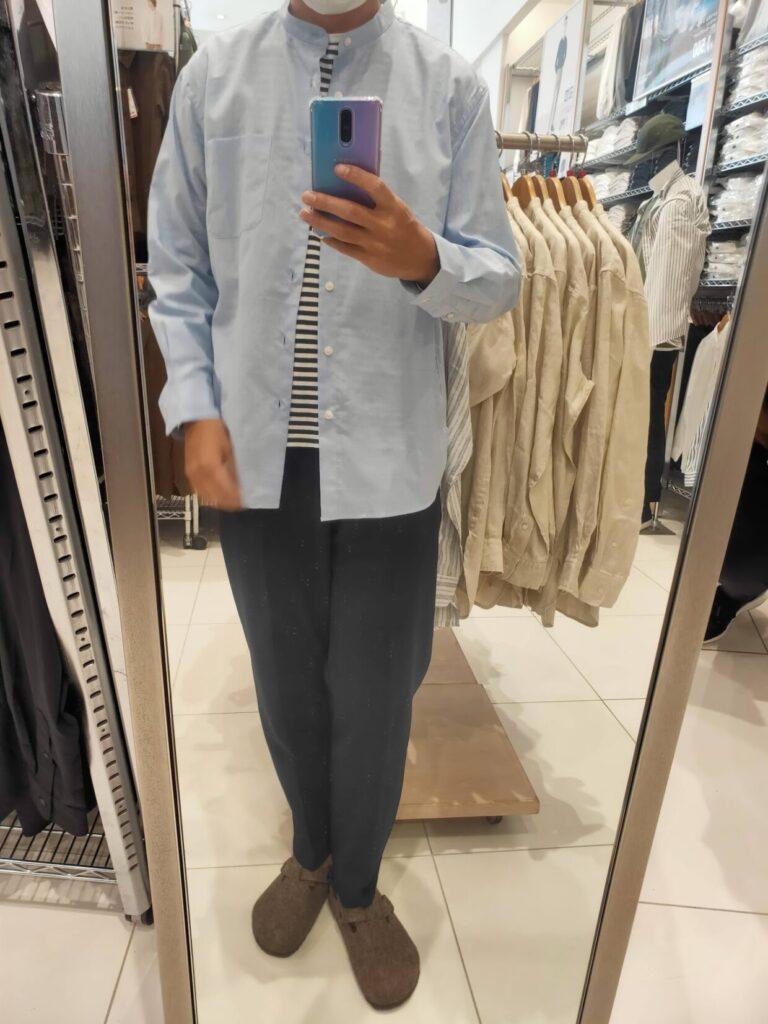 2021ssエクストラファインコットンブロード スタンドカラーシャツのブルーM前