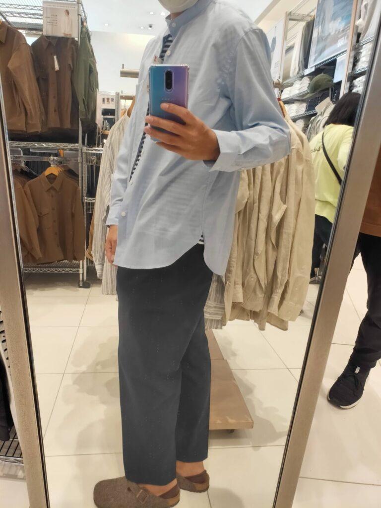 2021ssエクストラファインコットンブロード スタンドカラーシャツのブルーM横
