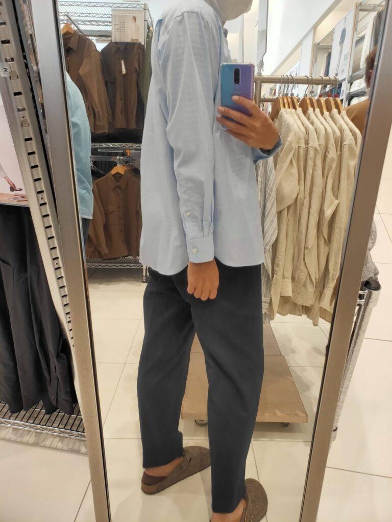 2021ssエクストラファインコットンブロード スタンドカラーシャツのブルーM後ろ