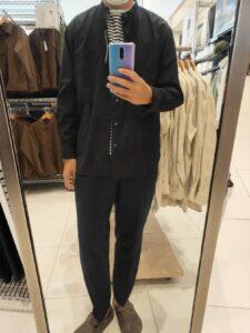2021ssエクストラファインコットンブロード スタンドカラーシャツのブラックM前