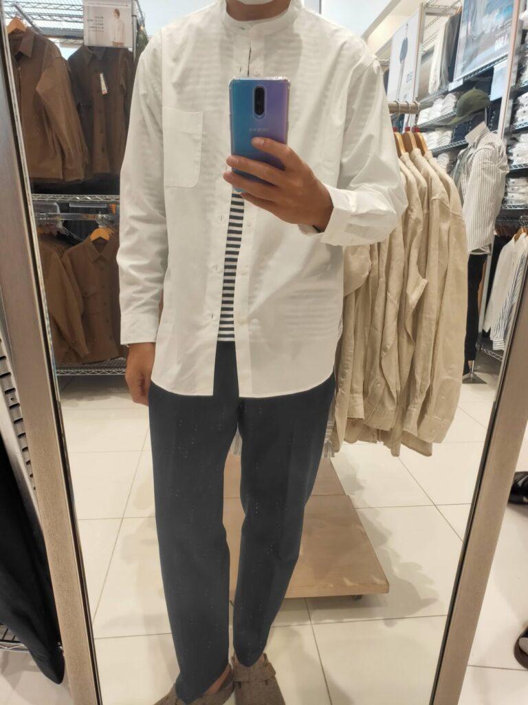 2021ssエクストラファインコットンブロード スタンドカラーシャツのホワイトM前