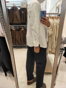 2021ssエクストラファインコットンブロード スタンドカラーシャツのホワイトM後ろ