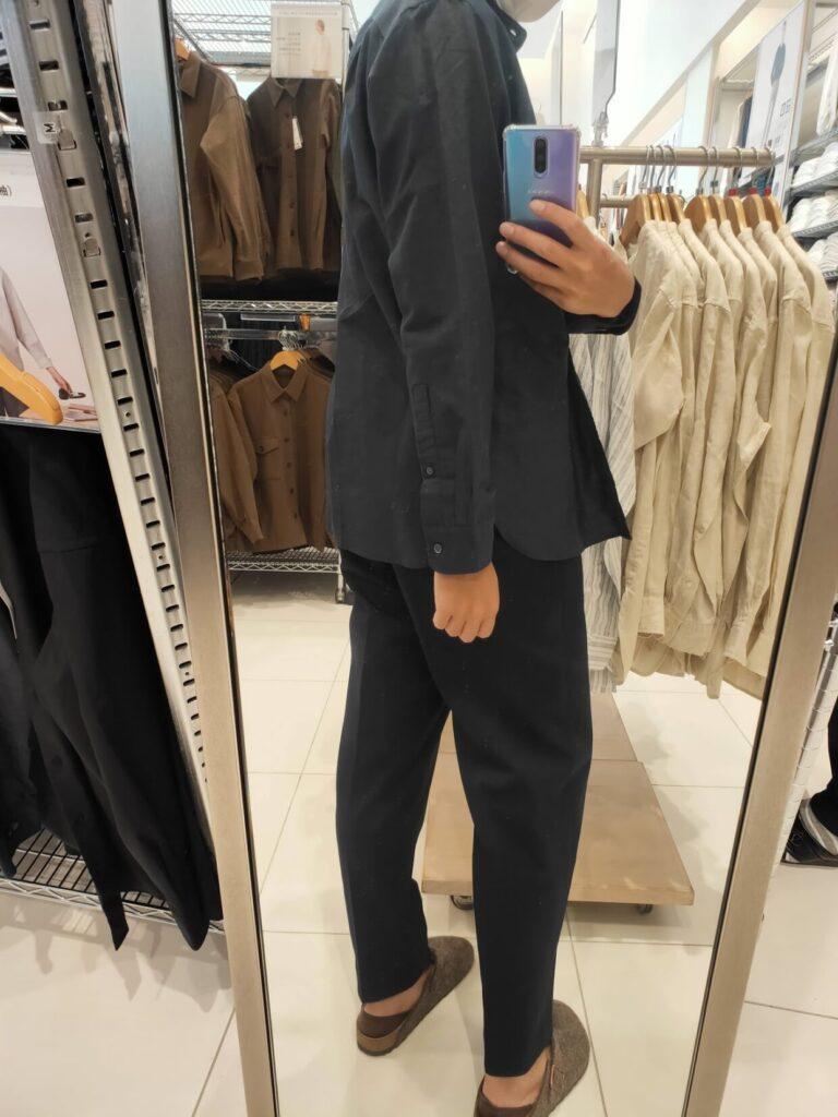 2021ssリネンコットンスタンドカラーシャツのブラックM後ろ