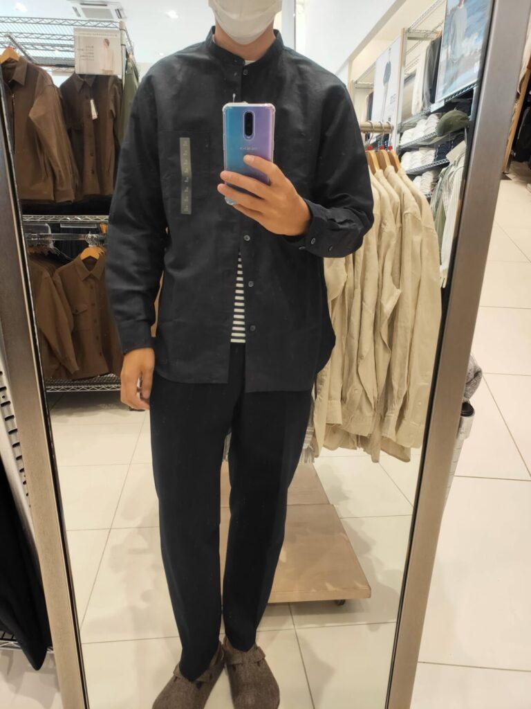 2021ssリネンコットンスタンドカラーシャツのブラックL前