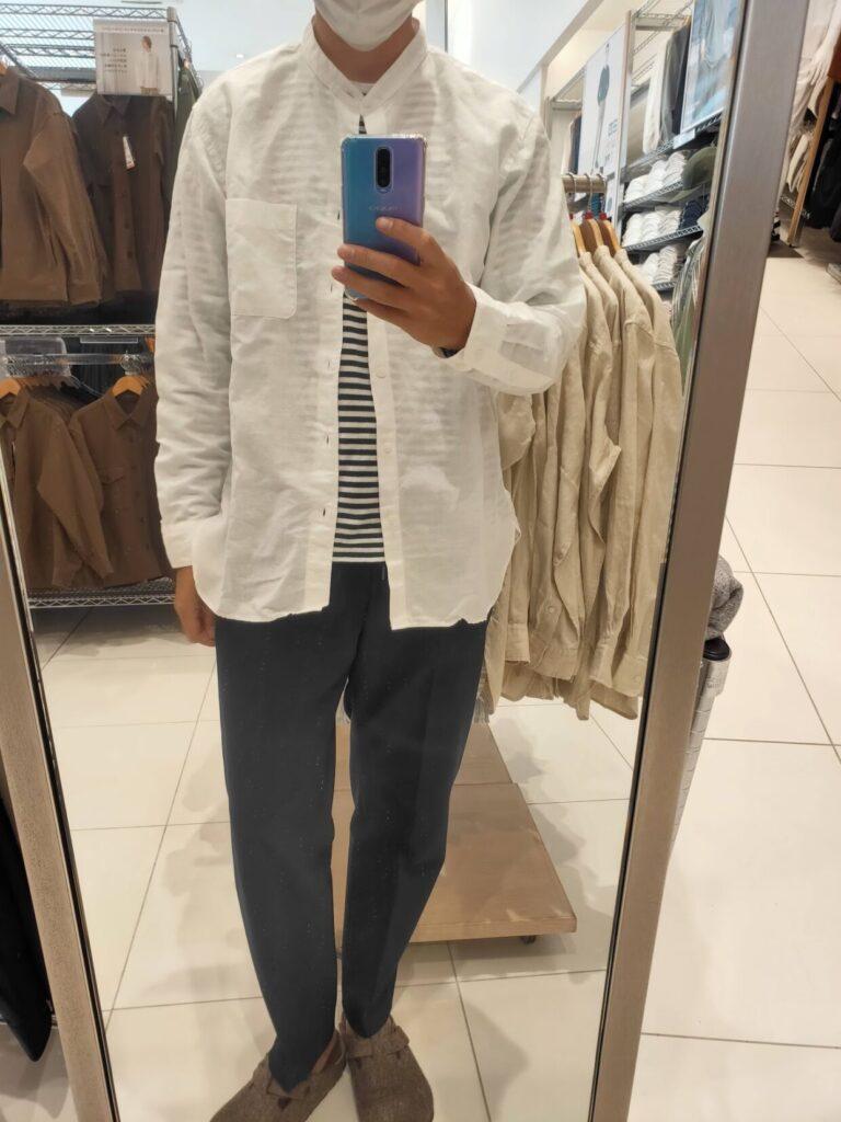 2021ssリネンコットンスタンドカラーシャツのホワイトL前