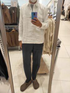 2021ssプレミアムリネンプルオーバーシャツのホワイトM前