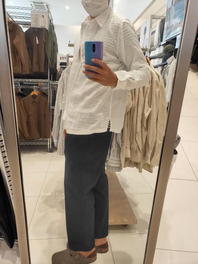2021ssプレミアムリネンプルオーバーシャツのホワイトM横