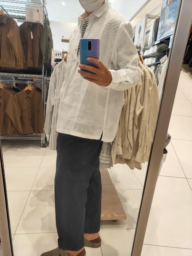 2021ssプレミアムリネンプルオーバーシャツのホワイトL横