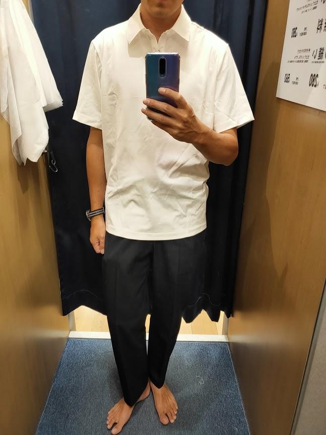 2021sstheoryエアリズムスリムフィットポロシャツのホワイトL前