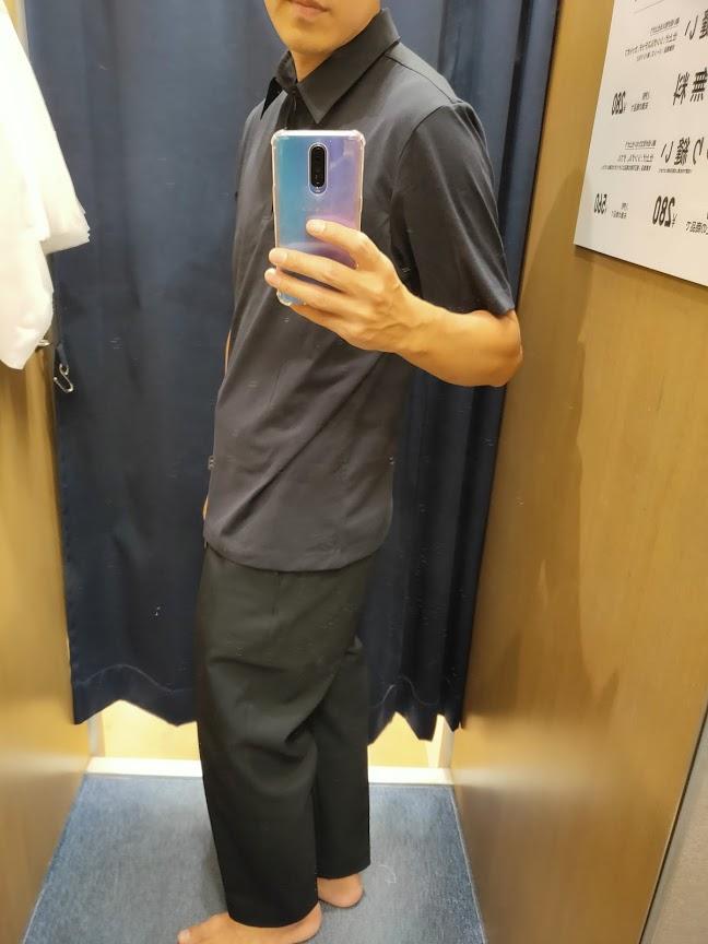 2021sstheoryエアリズムスリムフィットポロシャツのネイビーL横