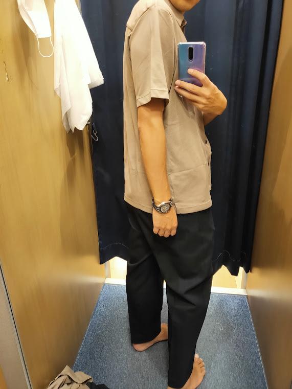 2021ssTheoryエアリズムスリムフィットフルオープンポロシャツのベージュL後ろ