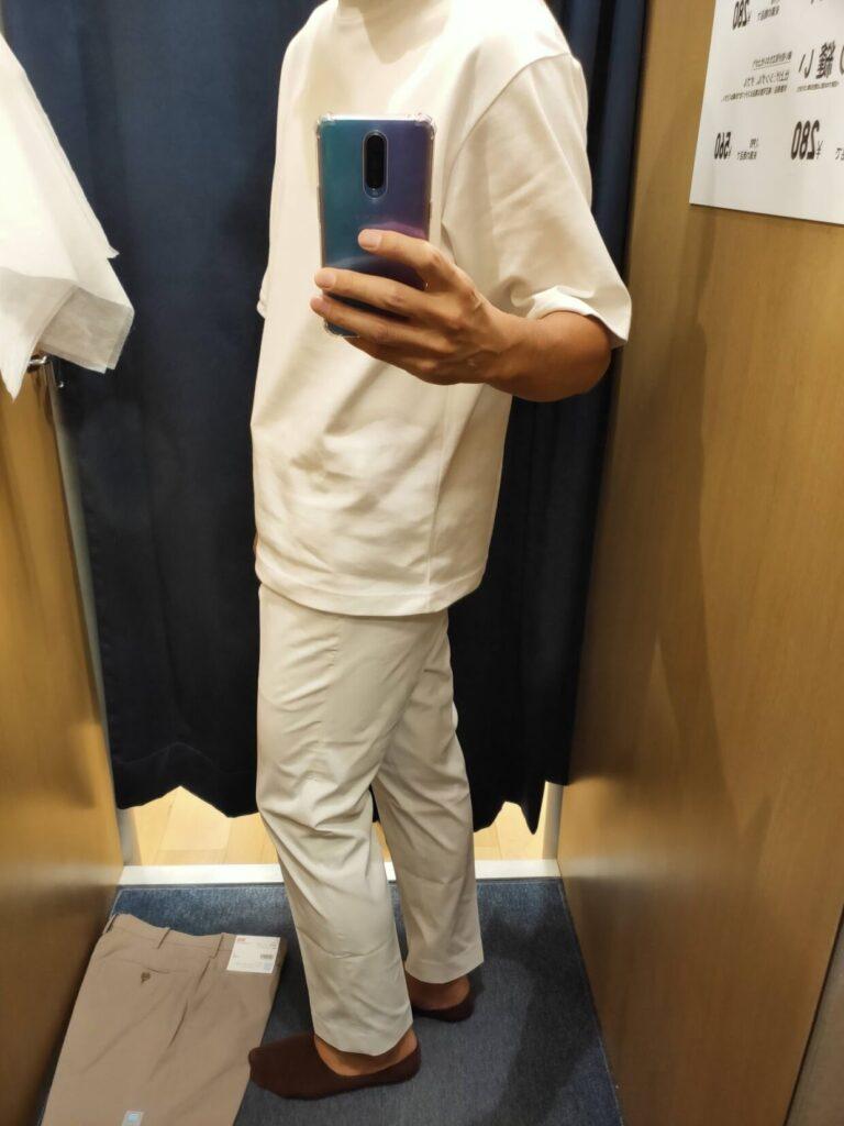 2021ssコットン感動パンツのホワイト79横