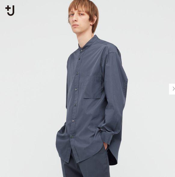 2021+Jスーピマコットンオーバーサイズスタンドカラーシャツのスタイル5