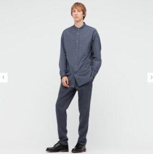 2021+Jスーピマコットンオーバーサイズスタンドカラーシャツのスタイル1