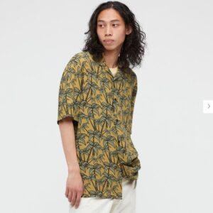 2021SSヘザー・ブラウン オープンカラーシャツのスタイル1