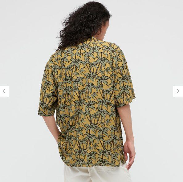 2021SSヘザー・ブラウン オープンカラーシャツのスタイル2