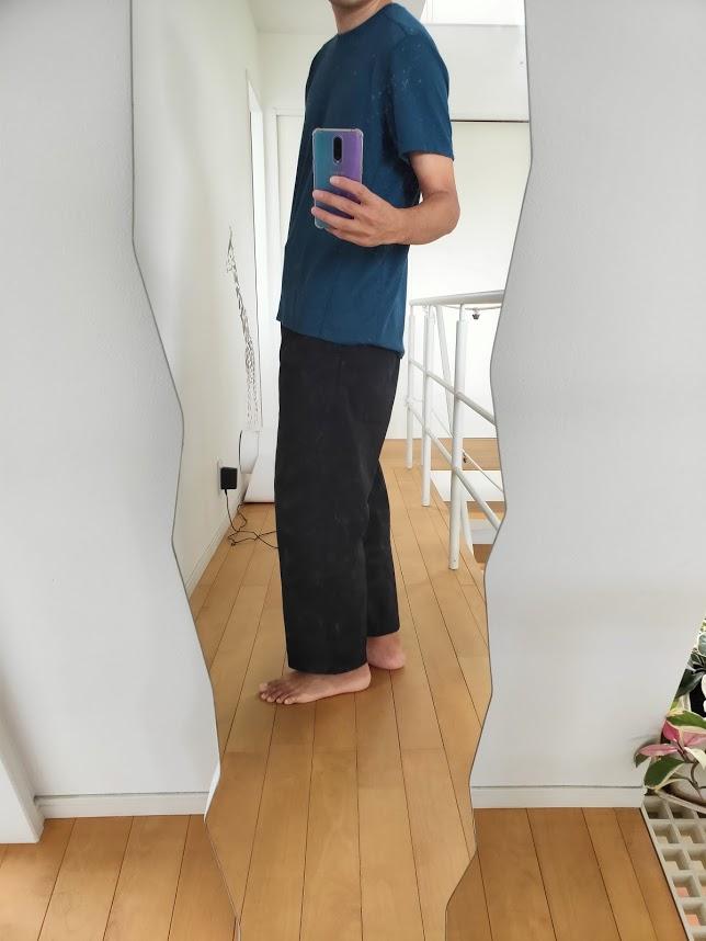 o5proのTシャツコーデワイドパンツ横