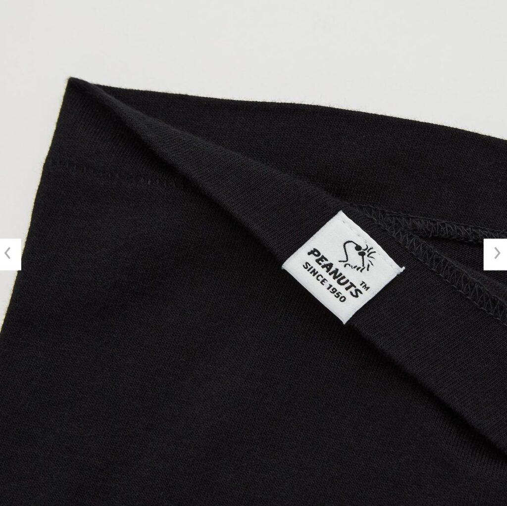 2021秋冬スヌーピーTシャツ黒3